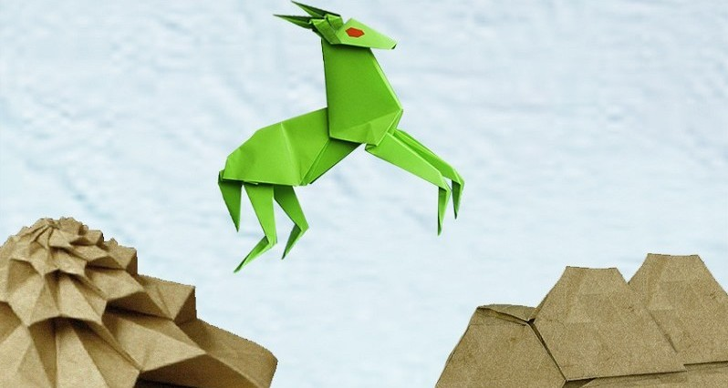 Origami-Goat-Jumping-on-a-Mountain--47507